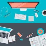 Satz des flachen Designillustrationskonzeptes des modernen Arbeitsplatzes, Draufsicht Stockbilder