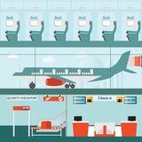 Satz des Flughafenabfertigungsgebäudes mit überprüfen herein Zähler und Sicherheitskontrolle Stockfotografie