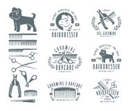 Satz des Friseurs für Hund Ausweise und Gestaltungselemente Stockbilder