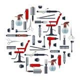 Satz des Friseurs wendet in der flachen Art lokalisiert auf weißem Hintergrund ein Friseursalonausrüstung und Werkzeuglogoikonen Lizenzfreies Stockbild