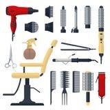 Satz des Friseurs wendet in der flachen Art lokalisiert auf weißem Hintergrund ein Friseursalonausrüstung und Werkzeuglogoikonen, Lizenzfreies Stockbild