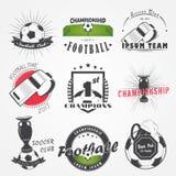 Satz des Fußball-Fußball-Vereins Sportteam Ausführliche Elemente Alter Retro- Weinleseschmutz Stockbilder