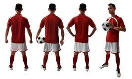Satz des Fußballspielers lokalisiert auf weißen Hintergründen Lizenzfreie Stockbilder