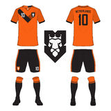 Satz des Fußballtrikots oder Fußballausrüstungsschablone für die Niederlande lizenzfreie abbildung