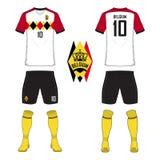 Satz des Fußballtrikots oder Fußballausrüstungsschablone für nationales Fußballteam Belgiens Vordere und hintere Ansichtfußballun lizenzfreie abbildung