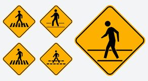 Satz des Fußgängerwegzeichens r lizenzfreie abbildung