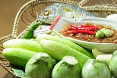 Satz des Garnelenpastepaprikasoßenkochs über Garnelenpaste, THAILÄNDISCHE Lebensmittelkultur Lizenzfreies Stockbild