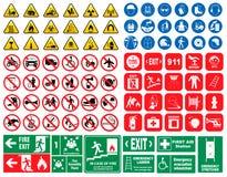Satz des Gebotszeichens, Gefahrzeichen, verbot Zeichen, Feuerrettungszeichen lizenzfreie abbildung