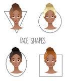 Satz des Gesichtes vier unterschiedlicher Frau formt (Afroamerikanerversion) Stockfotos