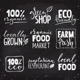 Satz des gesunden Logos des Lebensmittels neun mit Beschriftung Gezeichnete Textkombinationen des biologischen Lebensmittels Hand Lizenzfreies Stockfoto