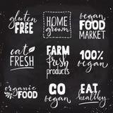 Satz des gesunden Logos des Lebensmittels vier mit Beschriftung Lizenzfreies Stockbild