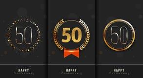 Satz des 50. glücklichen Jahrestages kardiert Schablone stock abbildung