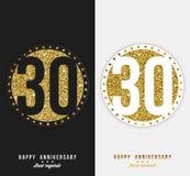 Satz des 30. glücklichen Jahrestages kardiert Schablone mit Goldelementen lizenzfreie abbildung