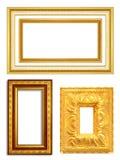 Satz des goldenen Weinleserahmens lokalisiert Stockbilder