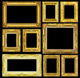 Satz des goldenen Weinleserahmens lokalisiert auf schwarzem Hintergrund Stockbilder