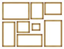Satz des goldenen Weinleserahmens lokalisiert auf weißem Hintergrund, mit c Stockbild