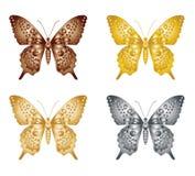 Satz des Goldsilberschmetterlinges auf einem weißen Hintergrund, eine Sammlung Schmetterlinge Auch im corel abgehobenen Betrag Stockfotos