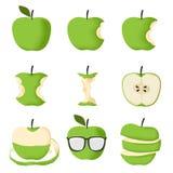 Satz des grünen Apfels Lizenzfreie Stockbilder