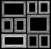Satz des grauen Weinleserahmens lokalisiert auf schwarzem Hintergrund Stockfotos