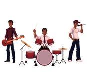 Satz des hübschen afrikanischen männlichen Sängers, des Schlagzeugers und des Gitarristen Lizenzfreie Stockfotografie