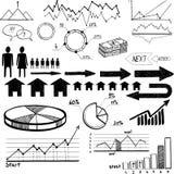 Satz des Hand gezeichneten Geschäftsfinanzelementvektors stock abbildung
