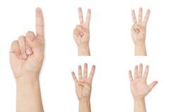 Satz des Handsymbols Fingerzählung bis zu fünf zeigend lizenzfreie stockbilder
