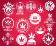 Satz des Hanf- und Marihuanaproduktsymbols stempelt  Lizenzfreie Stockfotos