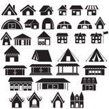 Satz des Hauses, des Lagers, des Tempels und anderer Gebäudeikone lizenzfreie abbildung
