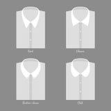 Satz des Hemdes vier Veränderungsmänner mit Krägen Stockbilder