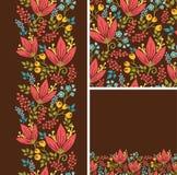 Satz des Herbstes blüht nahtloses Muster und Grenzen Stockbilder