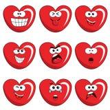Satz des Herzcharakters oder des Maskottchenausdruckgesichtes lokalisiert Stockfoto