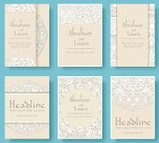 Satz des Hochzeitskartenfliegers paginiert Verzierungsillustrationskonzept Weinlesekunst traditionell, Islam, Arabisch, Inder, Os Stockfoto