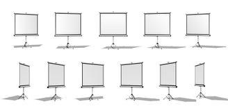 Satz des horizontalen Schirmes für einen Projektor oder eine Werbungsfahne Verschiedene Winkel Getrennt auf weißem Hintergrund Lizenzfreie Stockbilder