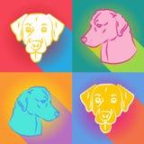 Satz des Hundeschattenbildes über komischem Knall-Art Background Retro Poster New-Jahr-Konzept 2018 Stock Abbildung