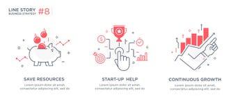 Satz des Illustrationskonzeptes mit Geschäftskonzept Arbeitsfluß, Wachstum, Grafiken Wirtschaftliche Entwicklung, Meilensteine, A Stockfoto