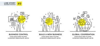 Satz des Illustrationskonzeptes mit Geschäftskonzept Arbeitsfluß, Wachstum, Grafiken Wirtschaftliche Entwicklung, Meilensteine, A Lizenzfreie Stockfotos