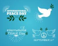 Satz des internationalen Tages des Friedens Weinlese und Retro- typografisches Lizenzfreie Stockbilder