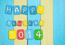 Satz des Jahres 2014 gemacht vom Plasticine auf hölzernem Stockfotografie