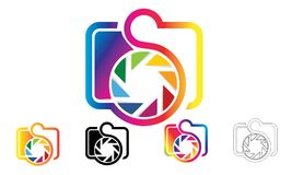 Satz des Kamera-Logos oder des Symbol-Vektors Stockfoto