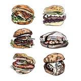 Satz des Karikaturvektorburgers Stockfotografie