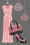 Satz des Kleides, Schuh, Handtasche mit Paisley stock abbildung