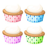 Satz des kleinen Kuchens lokalisierte süße Süßigkeitskleine kuchen der Kuchensammlung, die appetitanregend schauen Die bunten kle stock abbildung