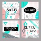 Satz des kreative Hand gezeichneten Verkaufs, Rabatttitel, Fahnen, Karten, Belege Design für Saisonfreigabe Stockbild