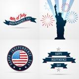 Satz des kreativen Musters des Designs der amerikanischen Flagge stock abbildung