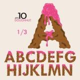 1-3 Satz des Kuchen-Donut-Vektor-Alphabetes Stockfotos