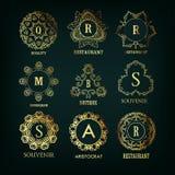 Satz des Luxus-, einfachem und elegantemmonogramms lizenzfreie abbildung