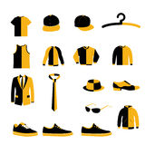 Satz des Mann-Mode-Kleidungs-und Zubehör-Design-Vektors und der Ikone Stockfotografie