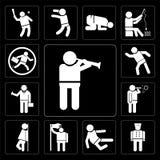 Satz des Mannes eine Flöte, Hotelpagen, Karatekämpfer spielend, Flagge halten und lehnen sich an der Wand und machen Seifenblasen Stockfotos