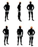Satz des Mannschattenbildes Stockfotos