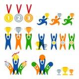 Satz des menschlichen Sportlogos des Vektors, Aufkleber, Ausweise, Embleme Leute- und Sportwettbewerbsikonen Sieger mit Preisen Lizenzfreies Stockfoto